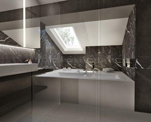 Grafitowa łazienka z wanną i prysznicem Nasciturus Design