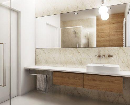 Kamień i drewno w łazience Nasciturus Designn