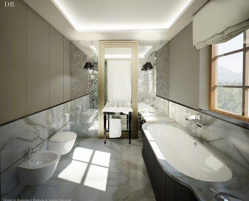 Lustrzane ozdoby w klasycznej łazience