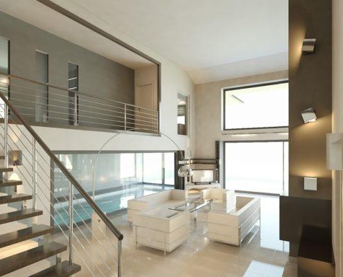 Minimalistyczny salon z widokiem na basen A8 Architektura