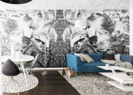 Monchromatyczna fototapeta w salonie A8 Architektura