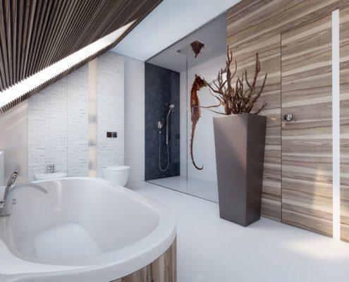Nowoczesna łazienka w bieli i drewnie Concept