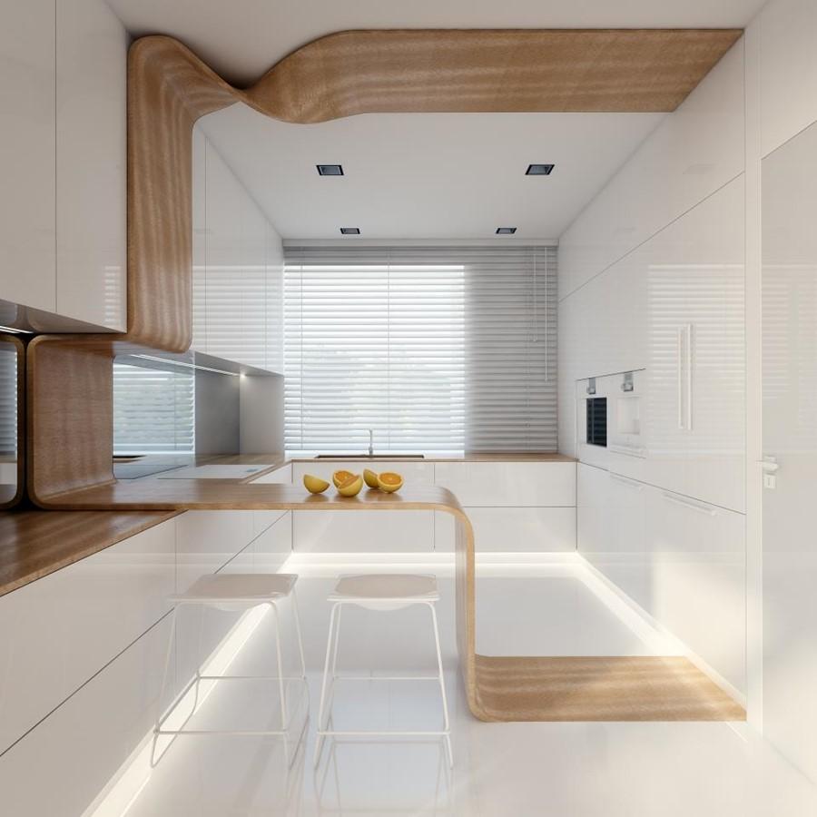 Nowoczesna kuchnia w bieli i drewnianych akcentach Concept - jak urządzić kuchnię