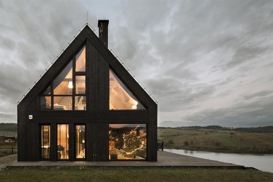 Nowoczesny Dom Z Drewnianą Dach 243 Wką Mountain Cottage
