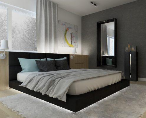 Podświetlane łóżko w minimalistycznej sypialni Nasciturus Design