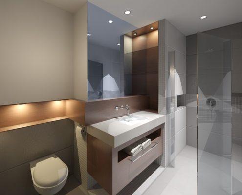 Popielata łazienka z akcentem drewna A8 Architektura