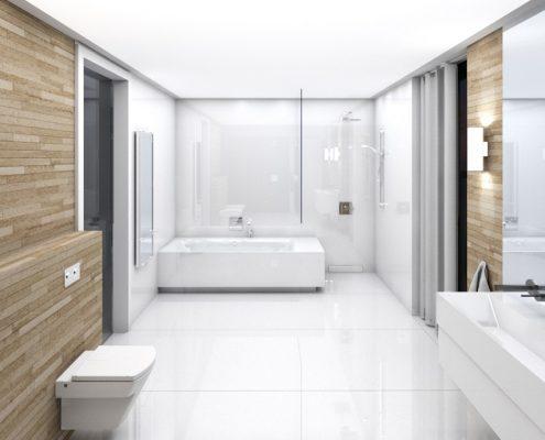 Projekt minimalistycznego pokoju kąpielowego A8 architektura