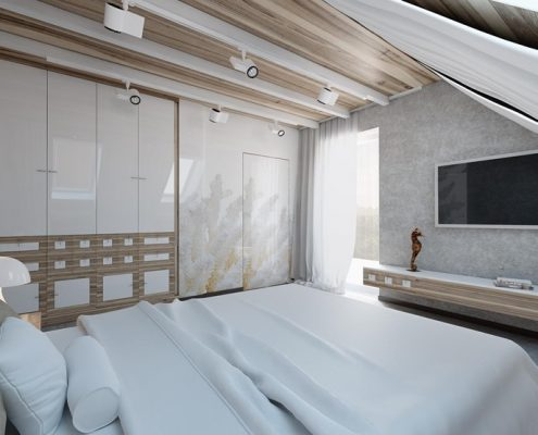Projekt sypialni na poddaszu wykończonej drewnem Concept