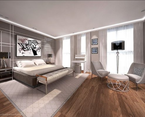 Projekt sypialni z kącikiem wypoczynkowym Dominika Rostocka