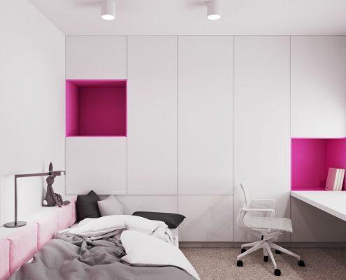 Różowe akcenty w pokoju dla nastolatki - pokój dla dziewczyny