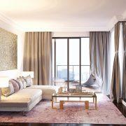 Stylowy salon o małym metrażu Dominika Rostocka - dywan w salonie