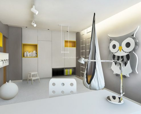 Szaro-żółty pokój dziecięcy Nasciturus Design