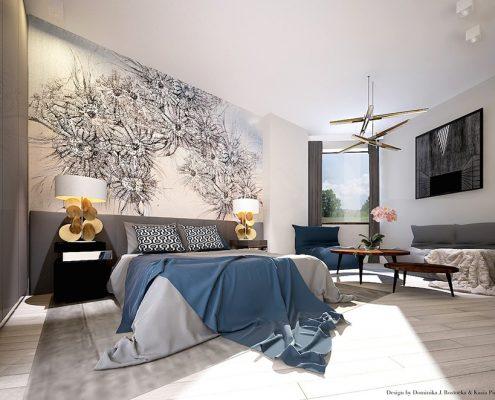 Trójkątna sypialnia w nowoczesnym stylu Dominika Rostocka