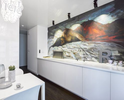 Wąska kuchnia w mieszkaniu A8 Architektura