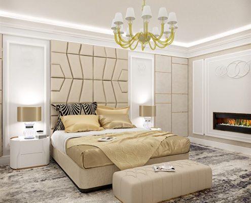 Złote akcenty w sypialni art deco Dominika Rostocka