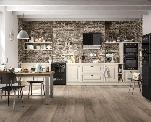 Aranżacja kuchni w stylu retro Smeg - eklektyczne wnętrza; ściana z cegły