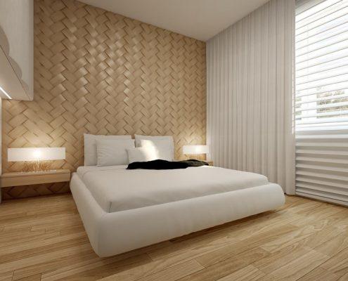 Beżowa plecionka ścienna w sypialni Concept