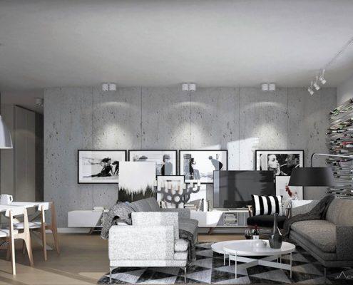 Betonowe ściany w nowoczesnym apartamencie Jach Architekci
