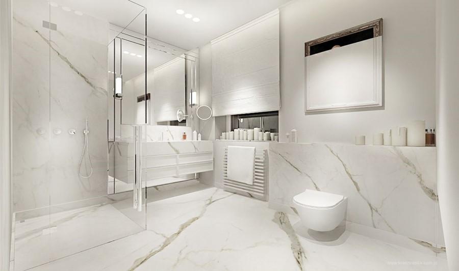Biały kamień w łazience - oryginalna łazienka