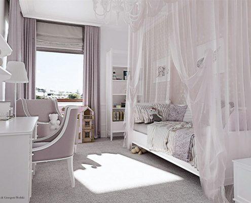 Biały pokój dla dziewczynki Dominika Rostocka - pokoje dla dzieci