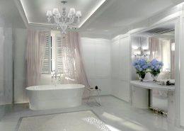 Biały pokój kąpielowy w klasycznym stylu Dominika Rostocka