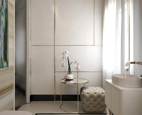 Biel i złoto w łazience Dominika Rostocka
