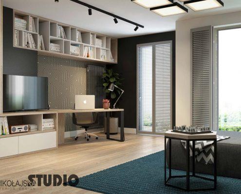Domowe biuro w salonie Mikołajska