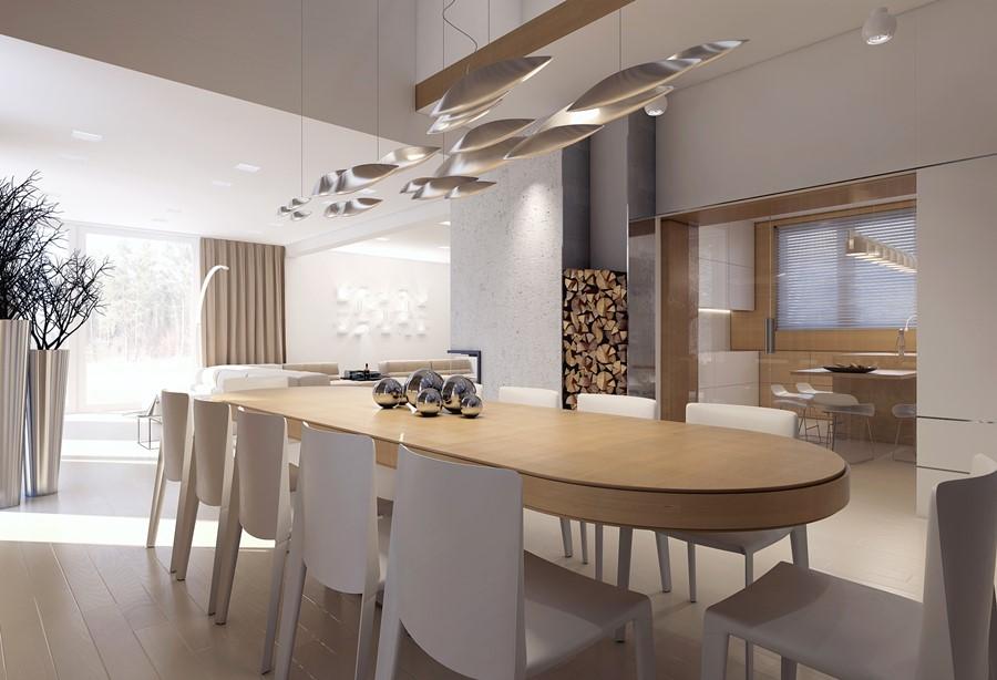 Duża, otwarta jadalnia w nowoczesnym stylu Concept