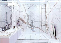 Duży natrysk w stylowej łazience Dominika Rostocka