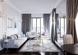 Eklektyczny pokój dzienny w bieli Dominika Rostocka - Jasny salon