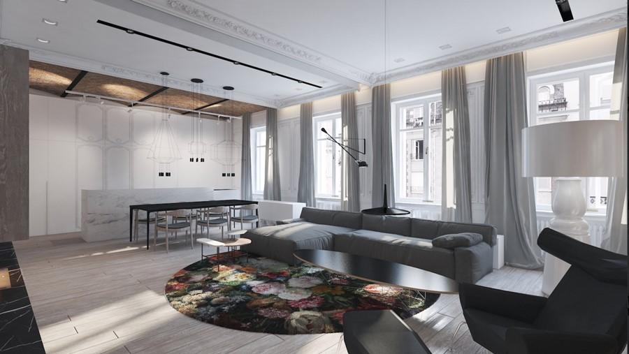 Eklektyczny projekt wnętrza kamienicy Naciturus Design