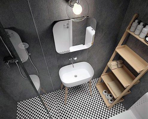 Industrialny styl w małej łazience Jarch Architekci