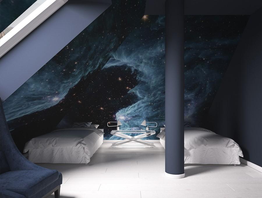 Kosmos w pokoju dla dwóch nastolatków Concept