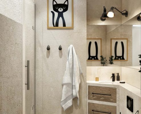 Mała, beżowa łazienka Miołajska