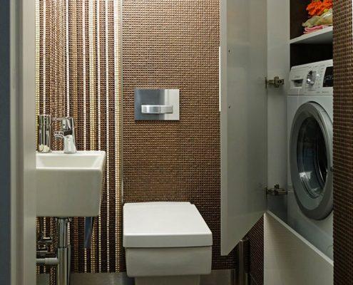Mała toaleta z pralką Mikołajska Studio