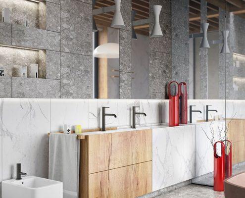 Marmur, drewno o beton w łazience Mikołajska
