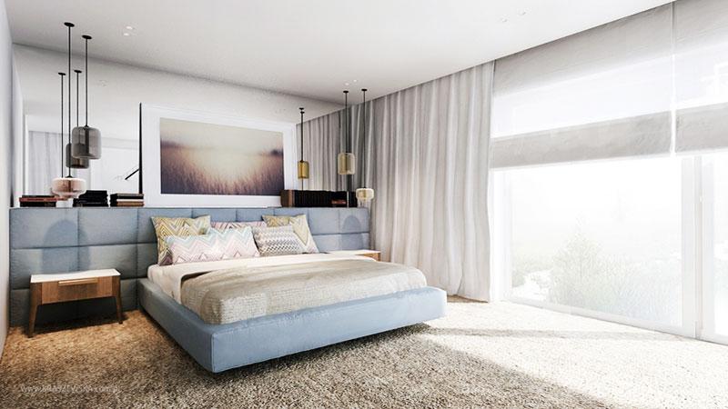 Minimalistyczna i przytulna sypialnia Katarzyna Kraszewska - ekskluzywne wnętrza
