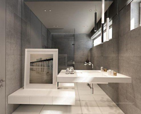 Minimalizm w łazience z prysznicem Katarzyna Kraszewska