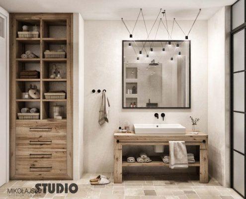 Naturalne drewno w łazience Mikołajska