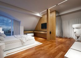 Nowoczesna sypialnia w ciepłych odcieniach drewna Concept