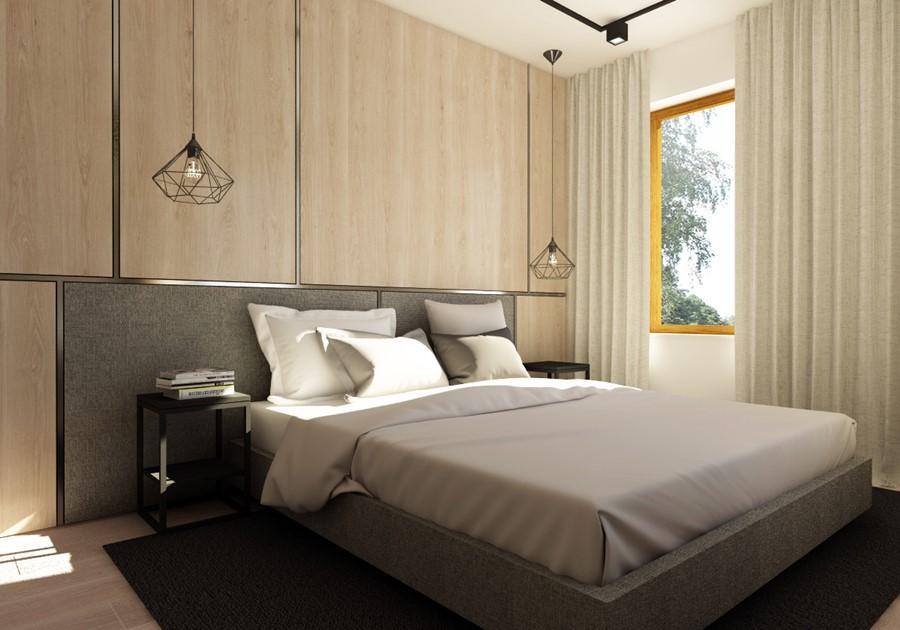 Nowoczesna sypialnia w szarościach i beżach Nasciturus Design