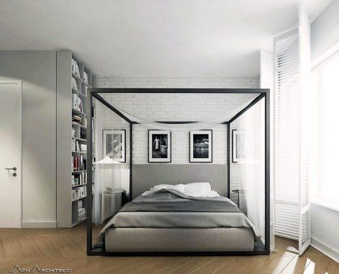 Nowoczesne łóżko z baldachimem Jach Architekci