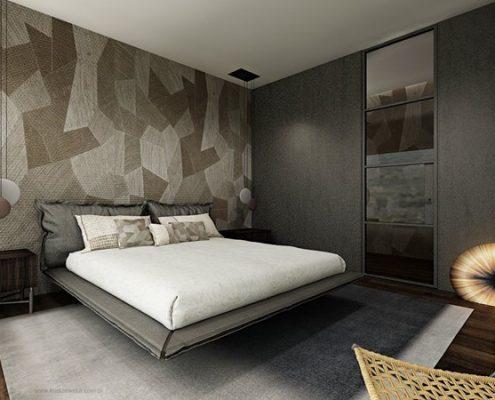 Podwieszane łóżko w nowoczesnej sypialni katarzyna Kraszewska