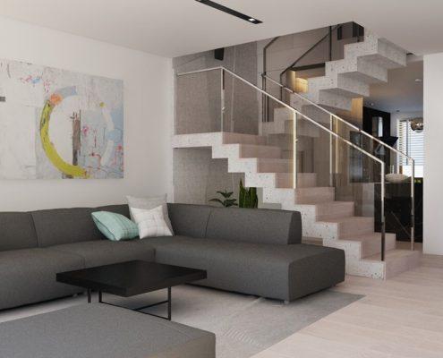 Pokój dzienny otwarty na klatkę schodową nasciturus Design