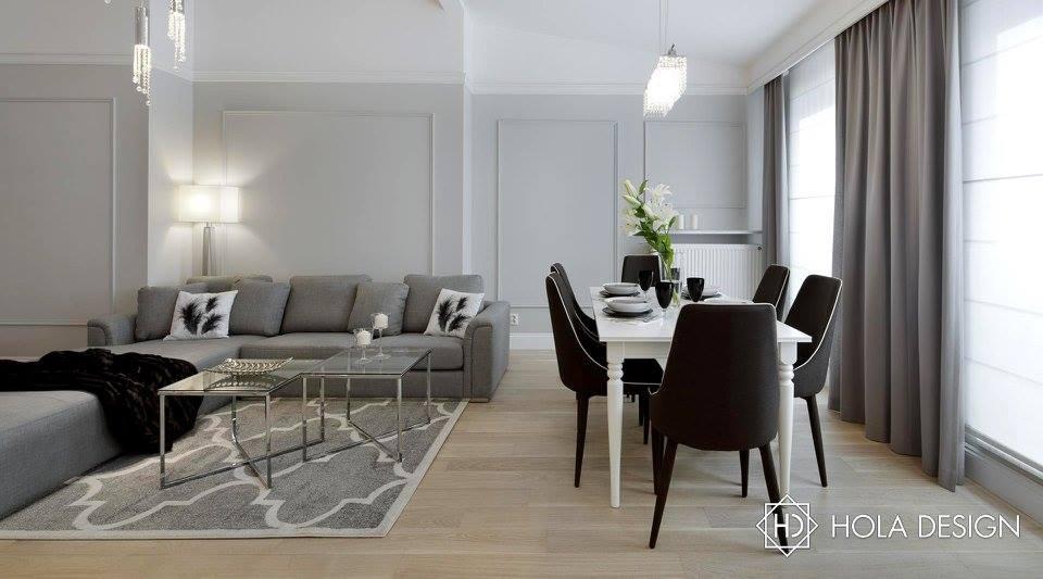 Pokój dzienny z jadalnią - modern classic - biuro projektowe