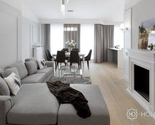 Pokój dzienny z jadalnią - modern classic Hola Design