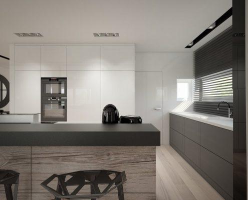 Projekt minimalistycznej kuchni otwartej na jadalnię Concept Architektura Wnętrz