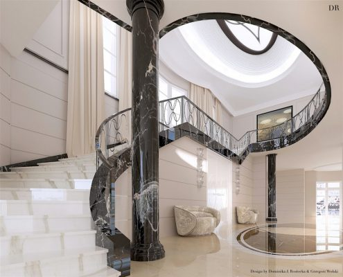 Projekt otwartego holu wykończonego kamieniem Dominika Rostocka