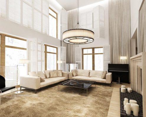 Projekt salonu z wysokim stropem Katarzyna Kraszewska