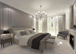 Projekt sypialni w odcieniach popielu Dominika Rostocka